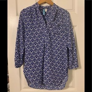 Cobalt Blue Geometric Pattern Blouse